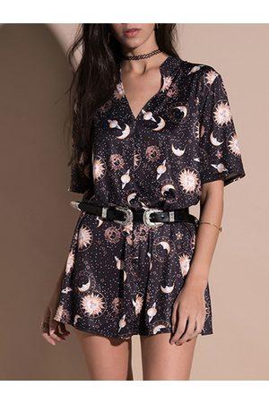 YOINS Black Print Front Button Short Sleeves V-neck A-Line Dress