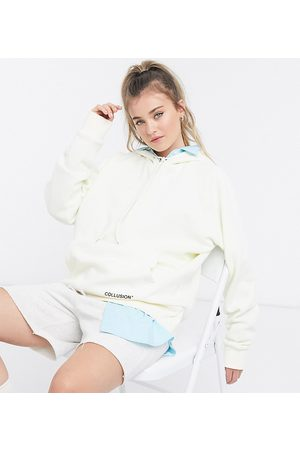 COLLUSION Oversized ecru hoodie with brand print