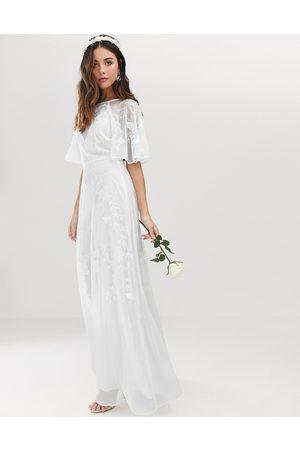 ASOS Mia embroidered flutter sleeve wedding dress
