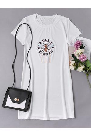 YOINS Casual Round neck Print Short sleeves Dress
