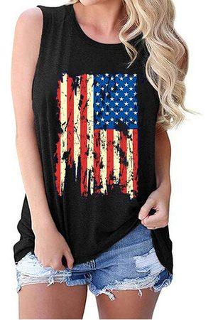 YOINS Black American Flag Print Crew Neck Sleeveless Tank Top