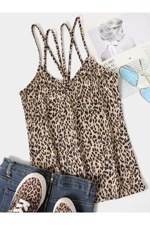 YOINS Brown Leopard Scoop Neck Sleeveless Cami