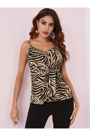 YOINS Khaki Knotted Zebra Stripe V-neck Sleeveless Cami