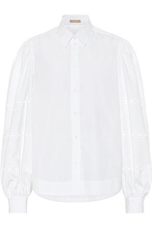 Alaïa Puff-sleeve cotton-poplin shirt