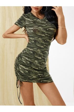 YOINS Army Green Camo Ruched Tie-up Round neck Short sleeves Mini Dress