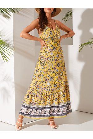 YOINS Yellow Hollow Design Tribal Print V-neck Sleeveless Dress