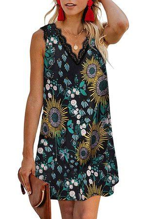 YOINS Casual Random Floral Print lace Trim Sleeveless V-neck Dress