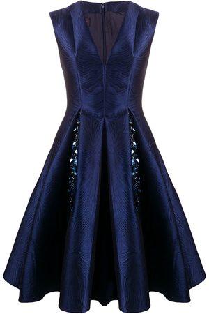 TALBOT RUNHOF V-neck jacquard dress