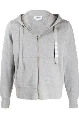 Thom Browne 4-Bar twill drawstring zip hoodie