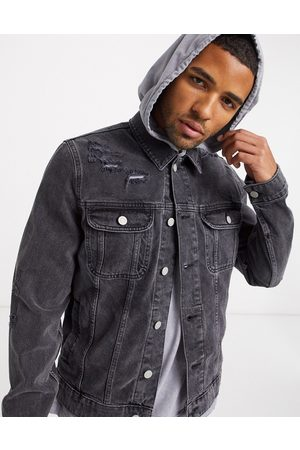ASOS Denim jacket in washed with rips