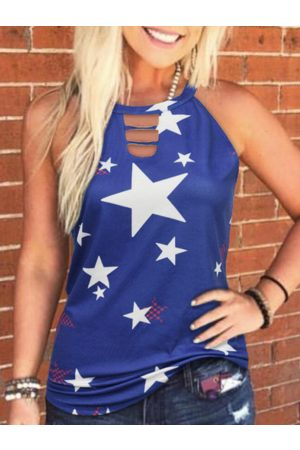 YOINS Blue Star Print Cut Out Halter Sleeveless Cami