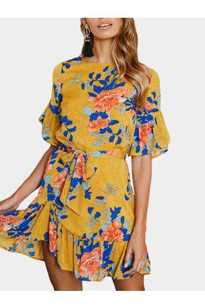 YOINS Random Floral Mini Dress With Half Flared Sleeves
