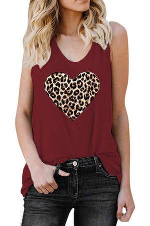 YOINS Leopard Heart Round Neck Sleeveless Tank Top