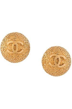 CHANEL 1995 CC button earrings