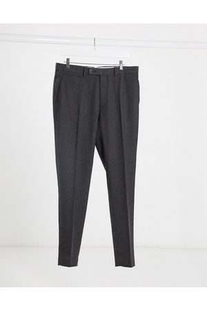 ASOS Wedding super skinny wool mix suit trousers in charcoal herringbone