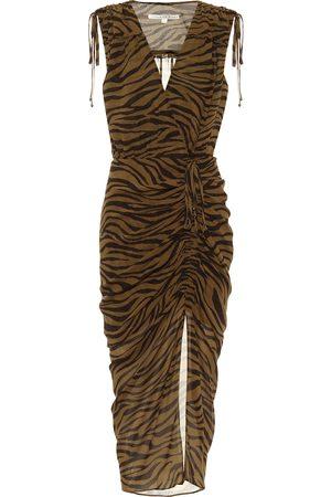 VERONICA BEARD Sless zebra-print silk midi dress