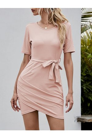YOINS Casual Wrap Belted Ruched Round Neck Short Sleeves Mini Dress
