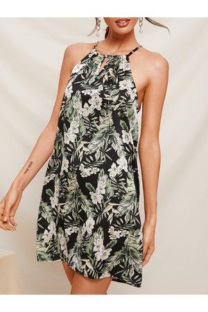 YOINS Black Cut Out Floral Print Halter Sleeveless Dress