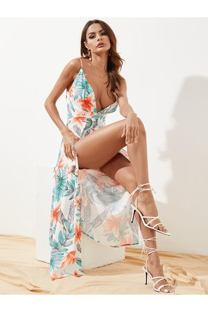 YOINS Backless High Slit Random Floral Print Sleeveless Dress