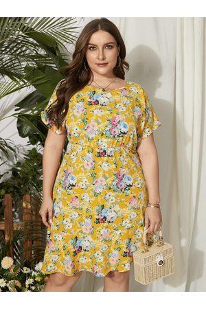 YOINS Plus Size Floral Print Short Sleeves Asymmetrical Hem Dress