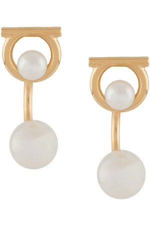 Salvatore Ferragamo Gancini faux-pearl jacket earrings