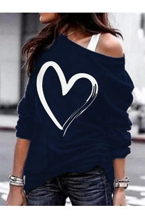 YOINS Navy Heart Print Cold Shoulder Long Sleeves Tee