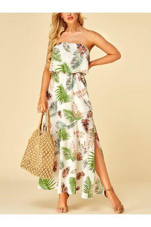 YOINS Leaf Print Off The Shoulder Double Layer Dress