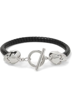 Alexander McQueen Silver-Tone and Leather Bracelet