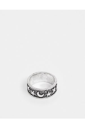 ASOS Ring with star and moon detail in burnished tone