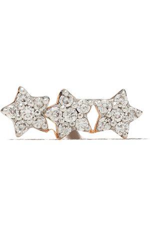 Milka 14kt three diamond stars piercing stud earring
