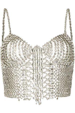 ERMANNO SCERVINO Crystal-embellished cropped top