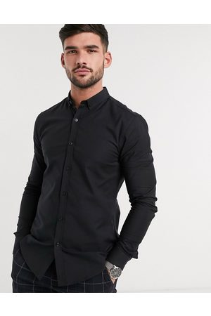 New Look Long sleeve muscle fit oxford shirt in