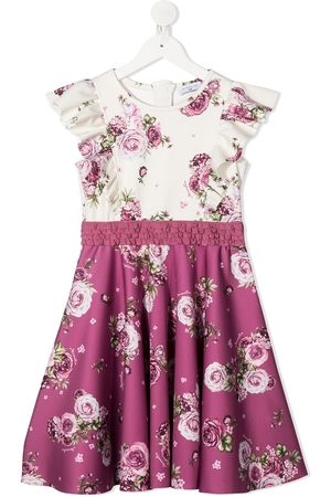 MONNALISA Girls Printed Dresses - Floral-print contrast panel dress