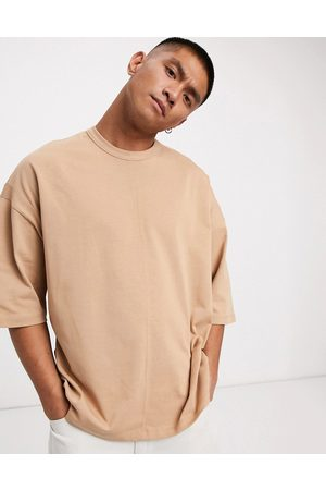 ASOS Oversized heavyweight t-shirt with seam detail in brown