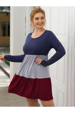 YOINS Plus Size Multicolor Patchwork Round Neck Dress