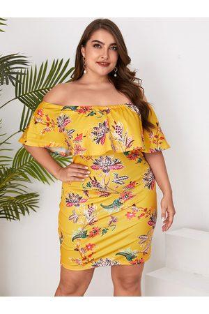 YOINS Plus Size Random Floral Print Off The Shoulder Double Layer Dress
