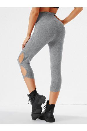 YOINS Grey Cut Out High-Waisted Sporty Leggings