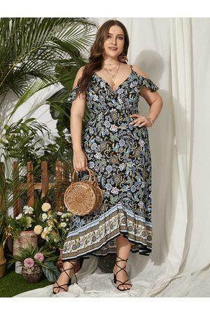 YOINS Plus Size Deep V-neck Floral Print Backless Design Short Sleeves Dress