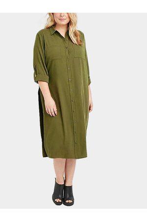 YOINS Plus Size Shirt Dress with Side Splits