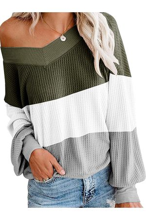 YOINS Color Block Long Sleeves Knit Top