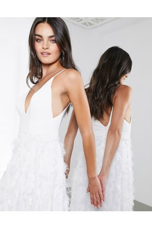 ASOS Afira plunge wedding dress with feather effect skirt