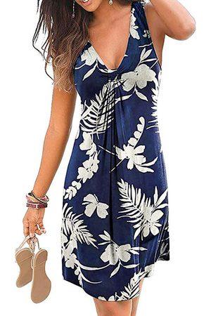 YOINS Women Casual Dresses - Casual Twist Tropical Print V-neck Sleeveless Vest Dress