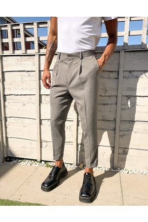 ASOS Tapered smart trouser in textured camel with turn up