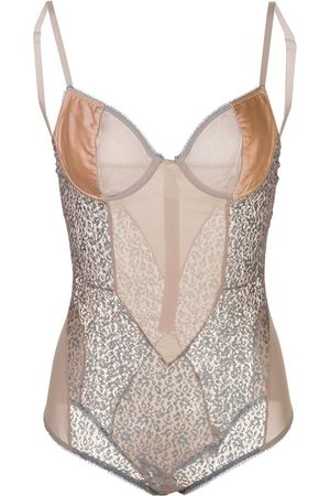 Kiki de Montparnasse Tiger Lily lace and satin bodysuit