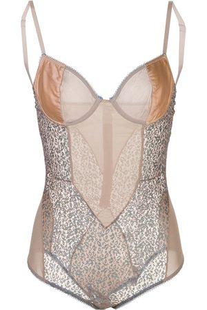 Kiki de Montparnasse Tiger Lily lace and satin bodysuit