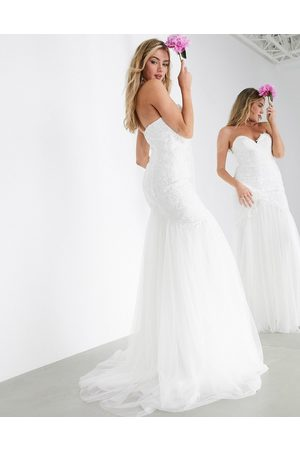 ASOS Freya embroidered wedding dress with mesh fishtail