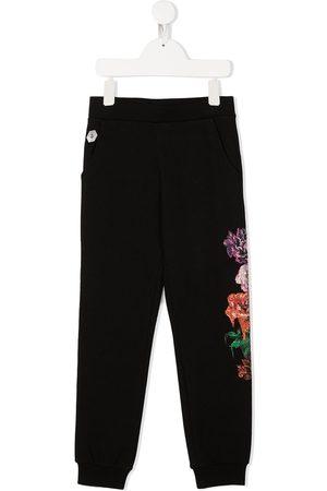 Philipp Plein Rhinestone floral print trousers