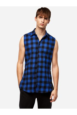 YOINS Men Tank Tops - Street Style Blue Grid Zipper Design Classic Collar Sleeveless High-low and Splited Hem Men's Tank
