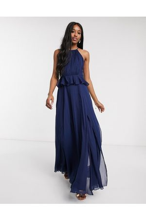 ASOS Pleated halter maxi dress with ruffle waist detail in