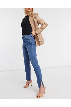 Missguided High waisted wrath straight leg jean with split hem in